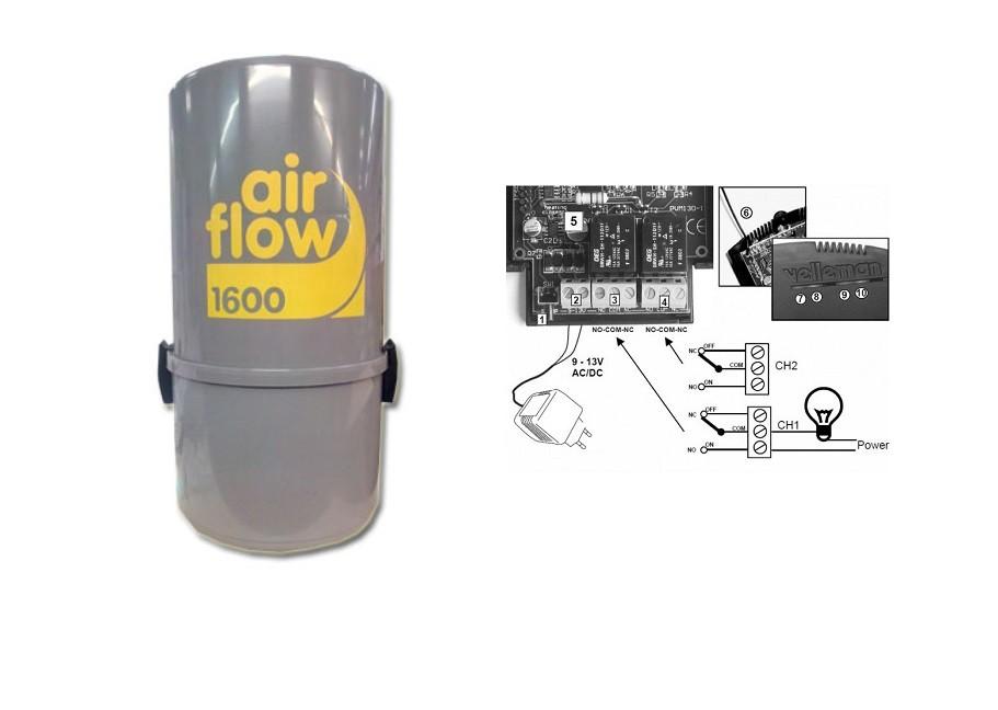 Aspirateur Central Pas Cher Airflow 1600 W ( Jusqu'À 300 M²)