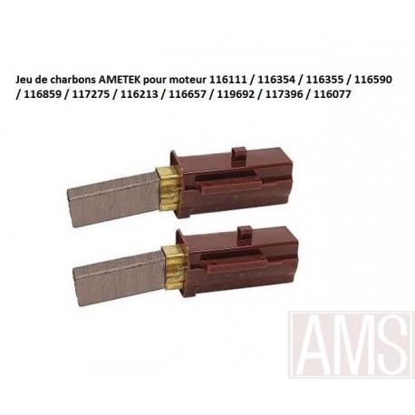charbons AMETEK pour moteur 116111 / 116354 / 116355 / 116590 / 116859 / 117275 / 116213 / 116657 / 119692 / 117396 / 116077