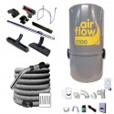 Aspirateur 2100w + set flexible + brosses + kit d'installations 3 prises