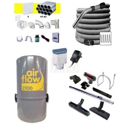 AirFlow 2100w Set flexible on off / 12 m + 8 accessoires + Kit 2 prises