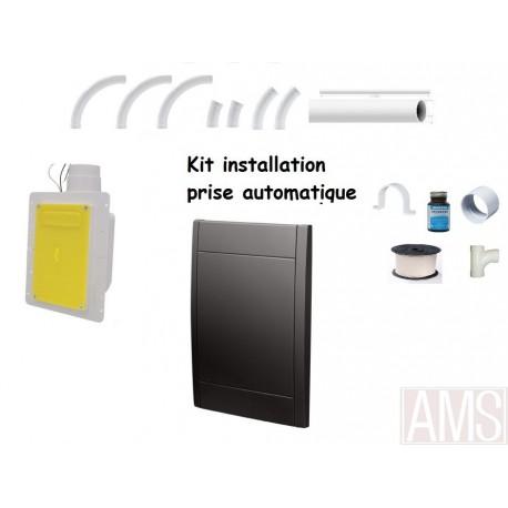Kit installation 1 prise noire auto rétractable 15-18M