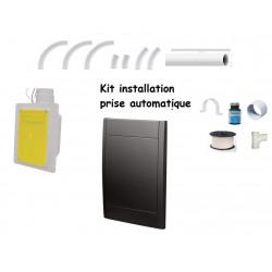 Kit installation 3 prises noires auto rétractable  15-18M