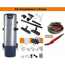Centrale TS4 + Kit 3 Prises + Flexible à variateur de vitesse & Brosses