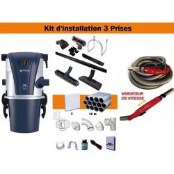 Centrale TC1 + Kit 3 Prises + Flexible à variateur de vitesse & Brosses
