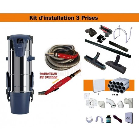 Centrale TX3A + Kit 3 prises + Flexible à variateur de vitesse & Brosses